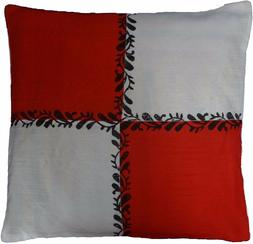 Red Ivory Cushion Cover Decorative Pillow Case With Block Pr