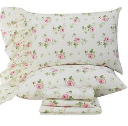 Queen's House Rose Floral Pillowcases Shams King Set of 2