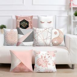 Rose Gold Cushion Covers Pink Grey Geometric Marble Pillow C