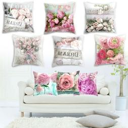 Rose Printed Cushion Cover Square Sofa Pillow Case Flower Ar