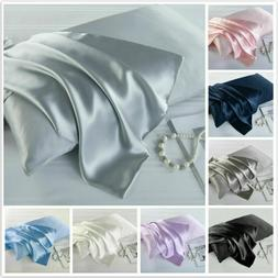 Satin Silk Pillowcase Zipper Pillow Case Cover Queen Standar