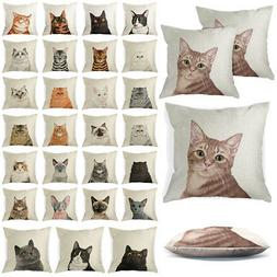 Set of 2 Cat Design Sofa Pillow Case Cushion Cover With Zipp