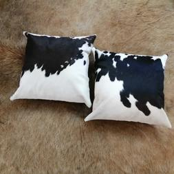 Set of 2 Cowhide Pillow Cover 16x16 in Black and White Cow S