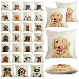 Set of 2 Dog Design Sofa Pillow Case Cushion Cover With Zipp