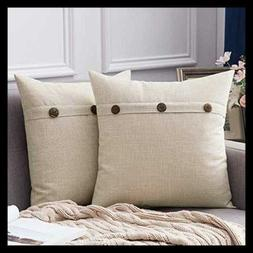 Set Of 2 Linen Throw Pillow Covers Cushion Case Triple Butto