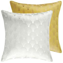 Set of 2 Modern Jacquard Throw Pillow Case Shells Waist Cush