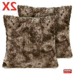 Set of 2 Pillow Case Decorative Faux Fur Sofa Bed Throw Cush