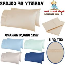 Set Of 2 Pillow Cases 400 Thread Count Cotton W/ Sateen Fini