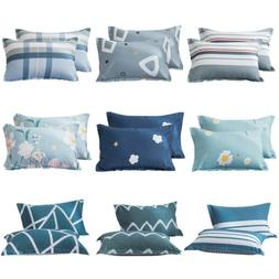 Set of 2 Printed Cotton Bed Pillow Cases Queen Pillowcase Co