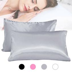 Set of 2 Silk Pillowcase Bed Pillow Case Pillow Covers Ultra