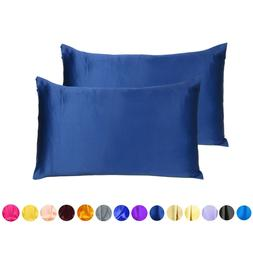 Set of 2 Silky Satin Pillowcase Pillow Case Cushion Cover St