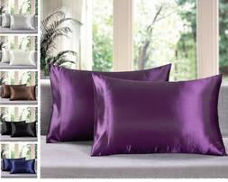 - Solid Soft Charmeuse Satin Pillow Cases - Queen/King