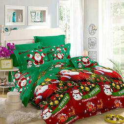 Set Of 4 3D Bedding Set Merry Christmas Cover Bed Sheet 2 Pi