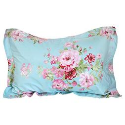 FADFAY Shabby Pink Floral Decorative Pillowcase 100% Cotton
