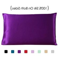 Queen Size Silk Pillowcase, Purple Both Sides 100% Mulberry