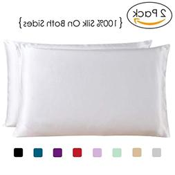 COCOSILK 2 Pack Standard Size Silk Pillowcases, White Both S