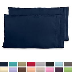 King Size Pillow Cases - Luxury Navy Blue Pillowcases - Supe