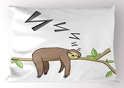 Sloth Pillow Sham by Ambesonne, Arboreal Mammal Sleeping on
