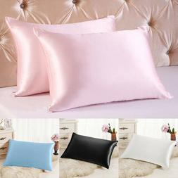 Smooth Satin Silk Queen/Standard Pillowcase Bedding Pillow C