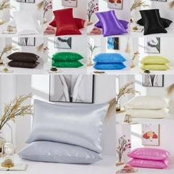 Soft Silk Pillow Cases Waist Cushion Cover Bedding Bed Sofa