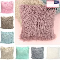 Soft Solid Fur Feather Pillow Case Square Sofa Cushion Cover