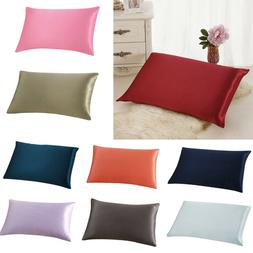 Solid Color Rectangle Cushion Cover Silk Throw Pillow Case P