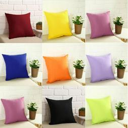 Solid Color Throw Pillow Case Plain Cushion Cover Kids Couch
