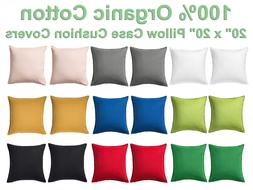"""Solid Full Color Pillow Case Cushion Covers 20"""" x20"""" w Zip -"""