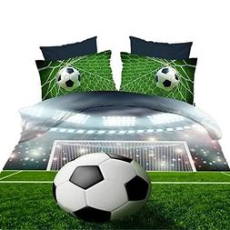Special Soccer Ball On Field 3D Bedding Sets Reactive Printi