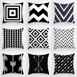 Square Black Stripe Throw Sofa Home Decor Pillow Case Cotton