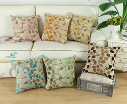 Square Pillow Cases Cushion Cover Chenille Three-Tones Leave