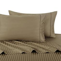 Stripe Taupe California-King Size Sheets, 4PC Bed Sheet Set,