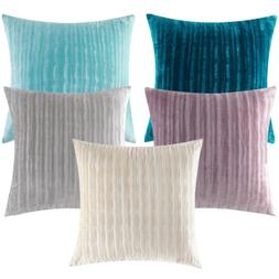Striped Velvet Solid Thickened Throw Pillow Case Cover Sofa
