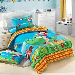 Super Mario Bros Kids Bed Sheet Set Duvet Cover Pillow Case