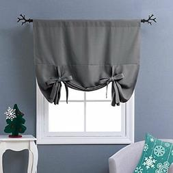 Nicetown Thermal Insulated Grey Blackout Curtain - Tie Up Sh