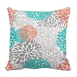 Emvency Throw Pillow Cover Blue Aqua Orange Gray and Floral