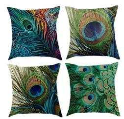 Throw Pillow Cover Cases Digital Printing Peacock Feather Pa