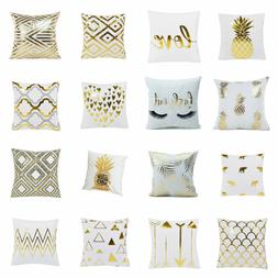 Throw Pillow Cover Cases Foil Print Flannel Decorative with