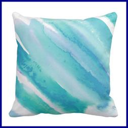 Throw Pillow Cover Chic TEAL BLUE TURQUOISE GREEN Ombre Femi