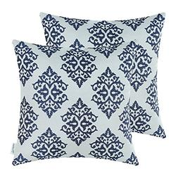 CaliTime Pack of 2 Soft Jacquard Throw Pillow Covers Cases C