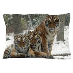 """CafePress TIGER IN THE SNOW Standard Size Pillow Case, 20""""x3"""