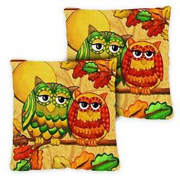 Toland Fall Owls 18 x 18 Inch Outdoor Pillow Case