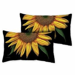 Toland Sunflowers On Black 12 x 19 Inch Outdoor Pillow Case