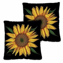 Toland Sunflowers On Black 18 x 18 Inch Indoor Pillow Case