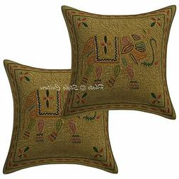 Traditional Pillow Cases Elephant Gold Embroidered Indin Gol