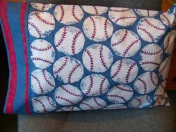 "TRAVEL SIZE PILLOW CASE 3"" BASEBALL PATTERN, RED& BLUE STRIP"