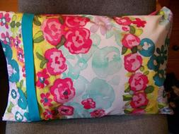 TRAVEL SIZE PILLOW CASE  LARGE COLOR FULL FLORAL BUDS /TEAL