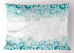 Turquoise Pillow Sham by Ambesonne, Abstract Floral Flowers
