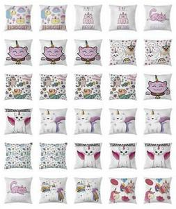 Unicorn Cat Throw Pillow Cases Cushion Covers Home Decor 8 S