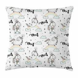 Unicorn Throw Pillow Cases Cushion Covers by Ambesonne Accen